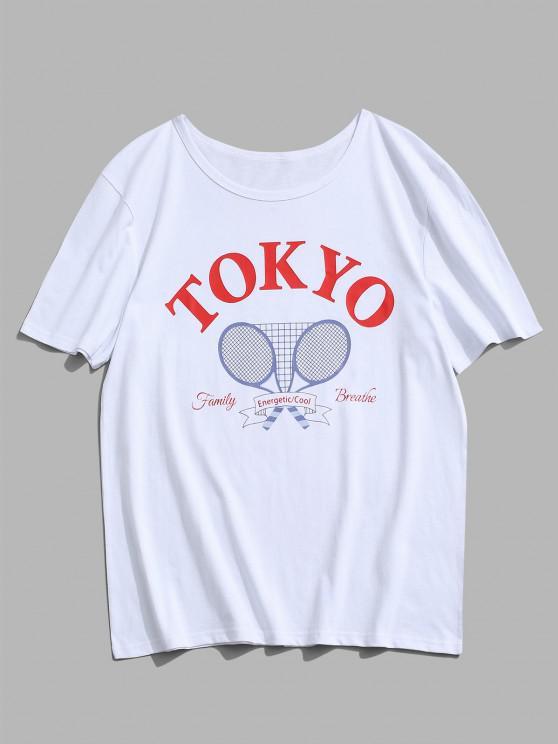 Tokyo Tennis Rackets Letter Print Graphic T-shirt - أبيض XL