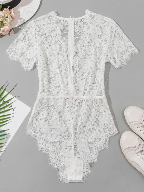 Plunge Lace Snap Crotch Lingerie Bodysuit - أبيض L