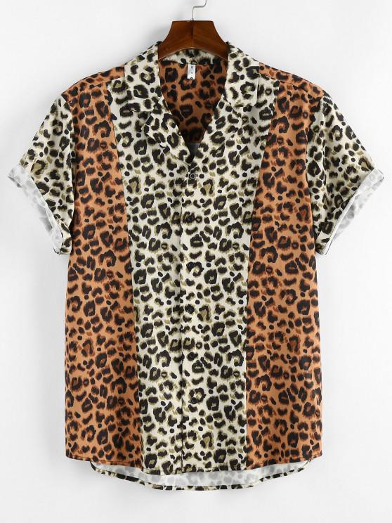 ZAFUL Camisa Curta com Estampa de Leopardo de Mangas Curtas - Café Light L