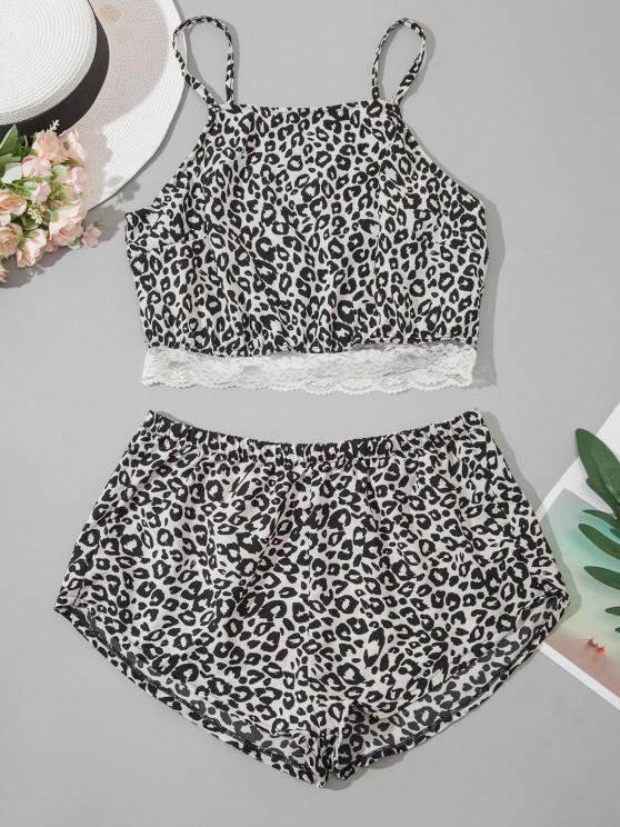women Leopard Lace Hem Pyjamas - BLACK M
