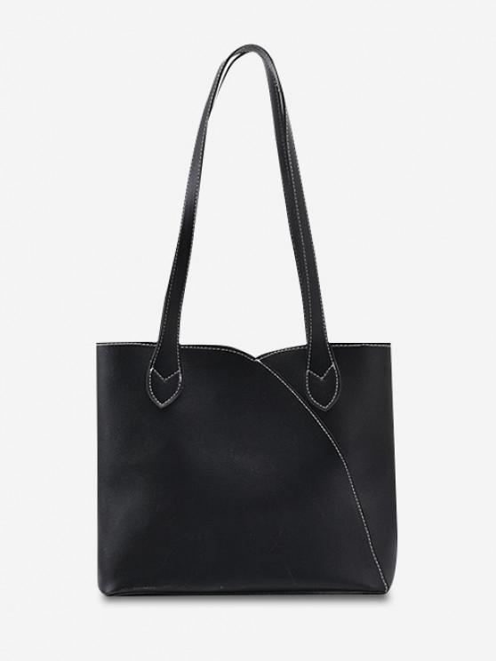fashion Splicing Work Tote Bag - BLACK