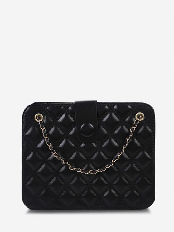 Quilted Chain-Trimmed Convertible Strap Square Shoulder Bag - أسود