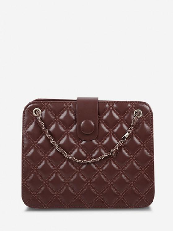 affordable Quilted Chain-Trimmed Convertible Strap Square Shoulder Bag - BROWN