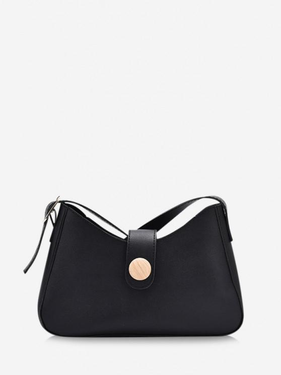 ladies Button Embellished Shoulder Bag - BLACK