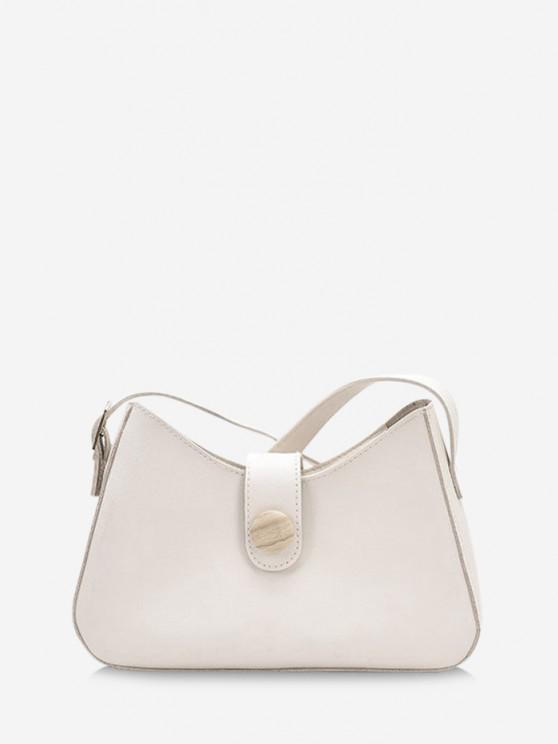 lady Button Embellished Shoulder Bag - WARM WHITE