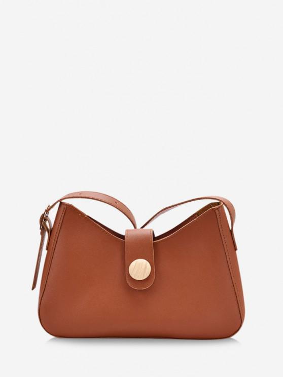 best Button Embellished Shoulder Bag - DEEP BROWN