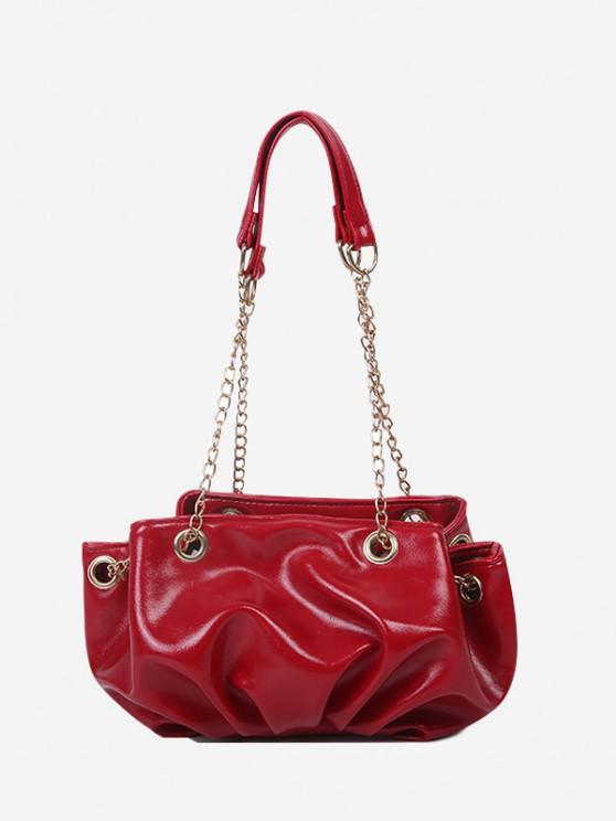 Bolsa de Ombro alças de corrente com couro falso Sólido - Rosa vermelha