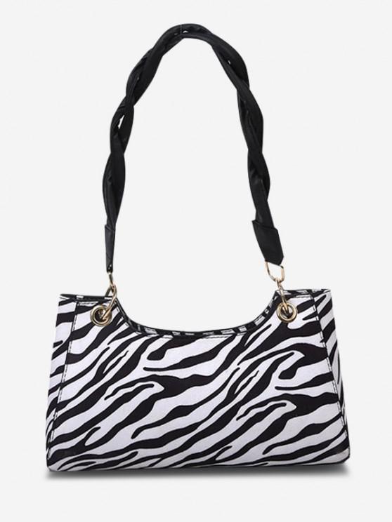 chic Zebra Striped Pattern Shoulder Bag - BLACK
