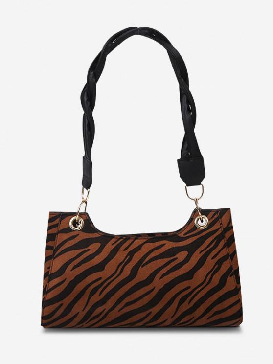 fancy Zebra Striped Pattern Shoulder Bag - BROWN