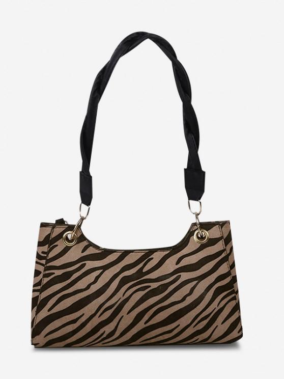Zebra Striped Pattern Shoulder Bag - البني الفاتح