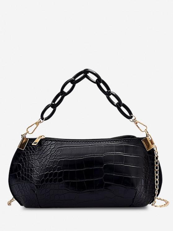 Textured Chains Handbag - أسود
