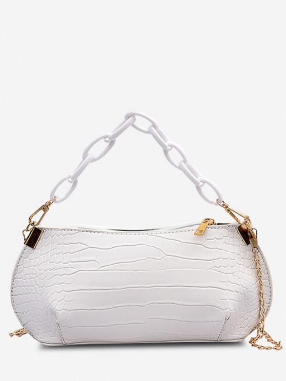 affordable Textured Chains Handbag - CRYSTAL CREAM