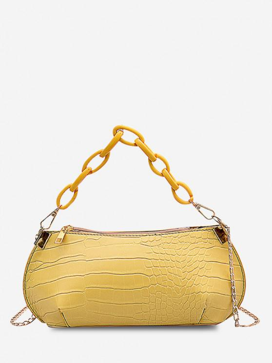 womens Textured Chains Handbag - SUN YELLOW