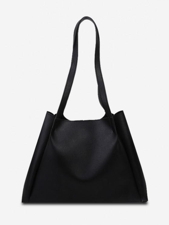 affordable Minimalistic Double Strap Shoulder Bag with Inner Pouch - BLACK