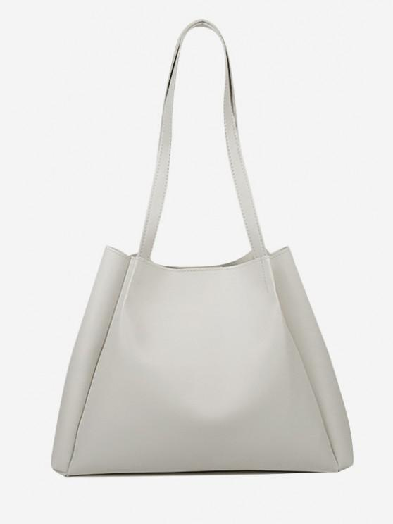 buy Minimalistic Double Strap Shoulder Bag with Inner Pouch - CRYSTAL CREAM