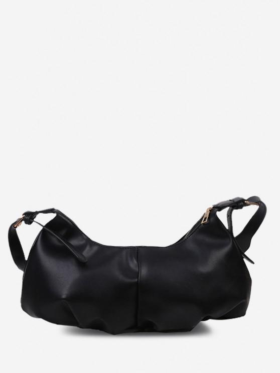 Soft Draped Buckle Strap Solid Shoulder Bag - أسود