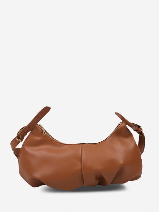 Soft Draped Buckle Strap Solid Shoulder Bag - البني الفاتح