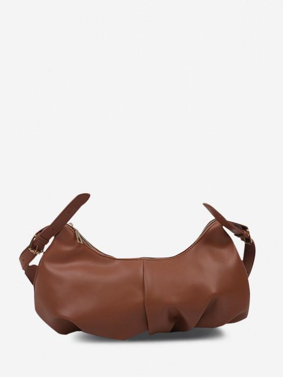 ladies Soft Draped Buckle Strap Solid Shoulder Bag - DEEP BROWN