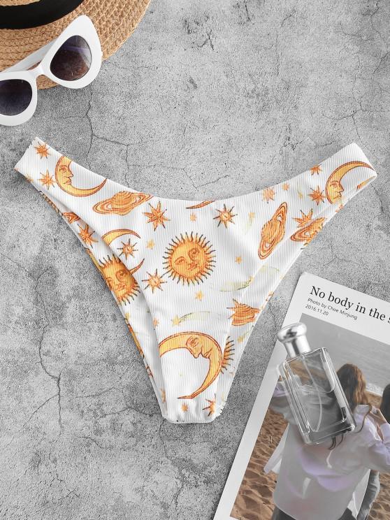 hot ZAFUL Ribbed Sun Moon Star Planet Print Bikini Bottom - WHITE M