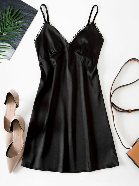chic Picot Trim Silky Satin Bustier Slip Dress - BLACK S