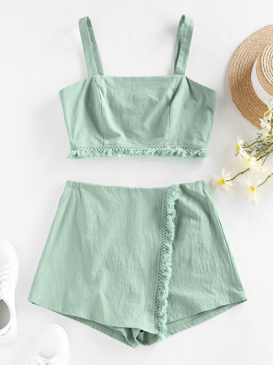 shops ZAFUL Frayed Back Zip Overlap Shorts Set - LIGHT GREEN M