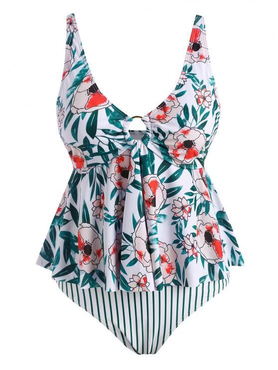 ZAFUL Plus Size Flower Striped O Ring Peplum Tankini Swimwear - أخضر XXXXL
