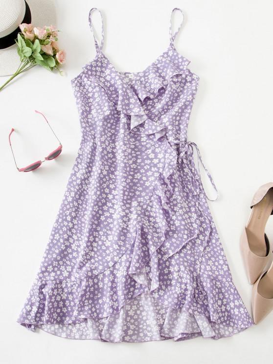 ZAFUL Robe Fleurie Imprimée à Bretelle Fine à Volants - Violet clair M