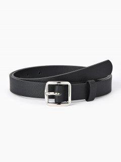 Textured Minimalistic Square Buckle Belt - Black