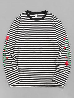ZAFUL Rose Flower Striped Print Long Sleeve T-shirt - Black S