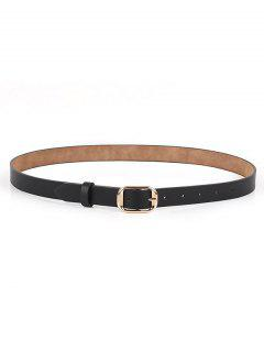 Polished Metallic Sleek Rectangle Buckle Belt - Black