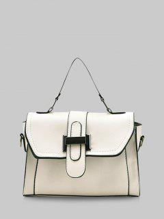 Retro Contrast Stitching Crossbody Bag - Milk White