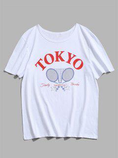 T-shirt Lettre Tokyo Poission Rayés Imprimés - Blanc M