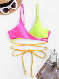 ZAFUL Colorblock Criss Cross Wrap Bikini Top - Red S