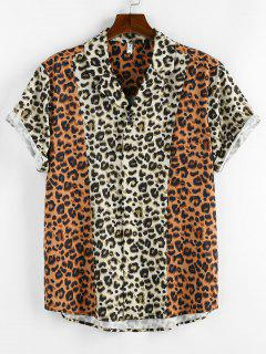 ZAFUL Contrast Leopard Print Short Sleeve Shirt - Light Coffee S