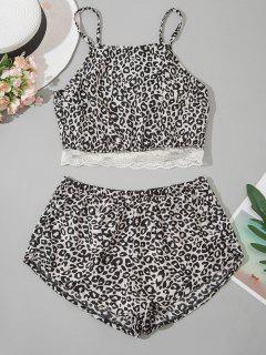 Leopard Lace Hem Pyjamas - Black L