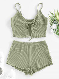 ZAFUL Knitted Lettuce Trim Tie Front Lounge Shorts Set - Light Green M