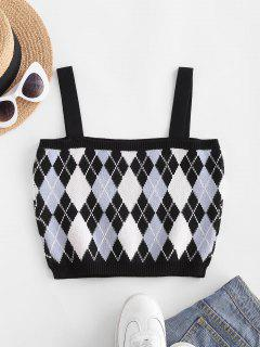 Argyle Knit Crop Sweater Tank Top - Black M