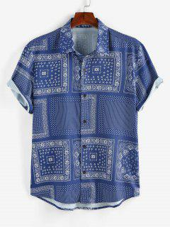 ZAFUL Scarf Print Short Sleeve Shirt - Blue Xxl