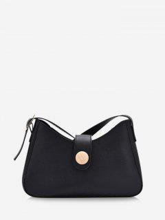 Button Embellished Shoulder Bag - Black