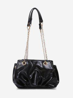 Solid Pleated Chain Shoulder Bag - Black