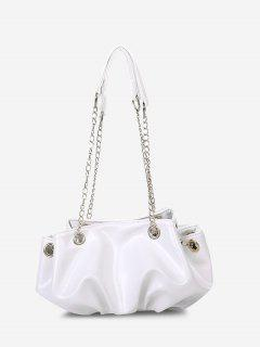 Solid Pleated Chain Shoulder Bag - Crystal Cream