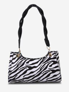 Zebra Striped Pattern Shoulder Bag - Black