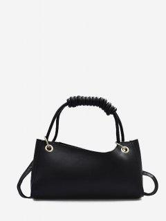 Solid Wrap Handle Handbag - Black