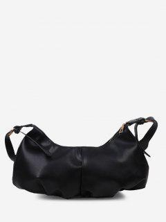 Soft Draped Buckle Strap Solid Shoulder Bag - Black