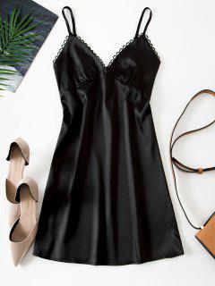 Picot Trim Silky Satin Bustier Slip Dress - Black M
