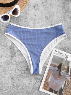 ZAFUL Ribbed Contrast Binding Swim Bottom - Blue L