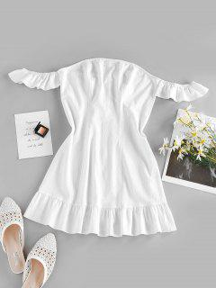 ZAFUL Off Shoulder Flounce Seam Detail Dress - White S