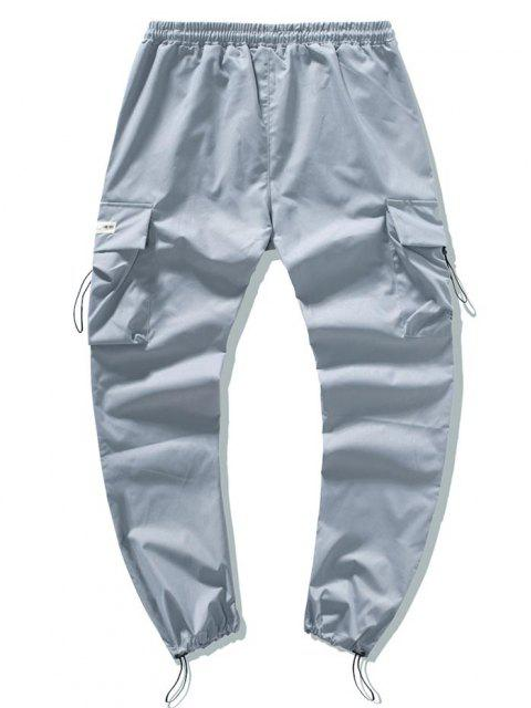 fashion Drawstring Patched Cargo Pants - BLUE GRAY XS Mobile