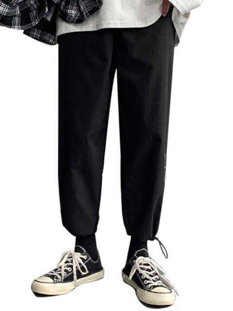 Pantalones Diseño Impreso Letras Dibujo Animado Dinosaurio - Negro XS Mobile