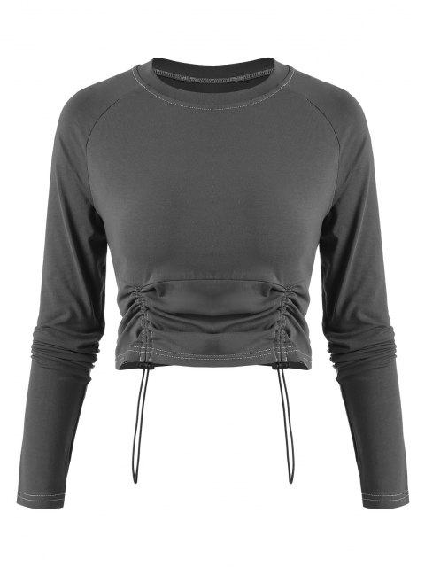 women's Cinched Front Contrast Stitching Cropped Tee - DARK GRAY S Mobile